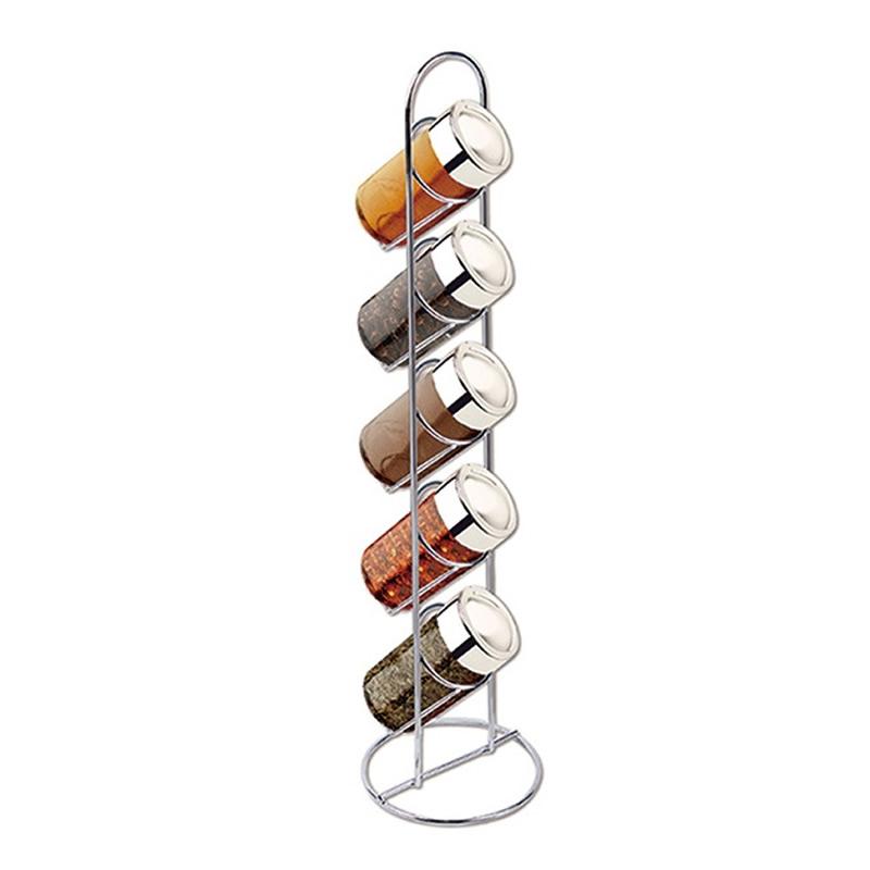 Porta Condimentos 5 Potes de Vidro Suporte Cromado Art House BS1487