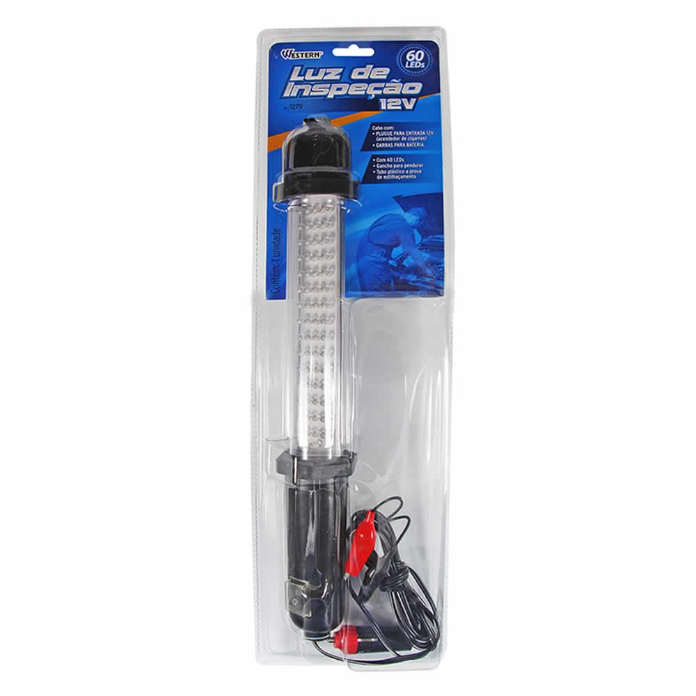 Luz de Inspeção Pendente 60 LEDs 12V 5W com Garra para Bateria e Plug Western 1279