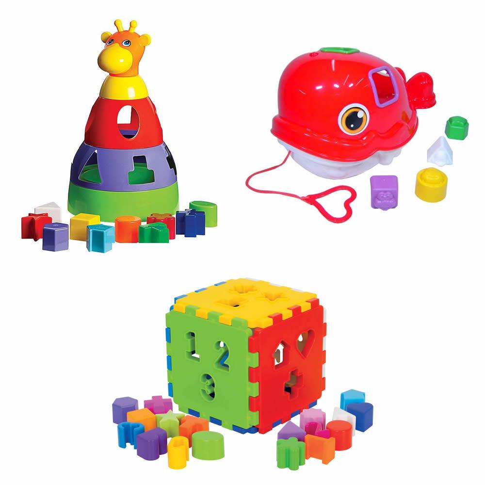 Kit 3 Brinquedos Didáticos Girafa Baleia e Cubo com Blocos de Encaixe Mercado Toys