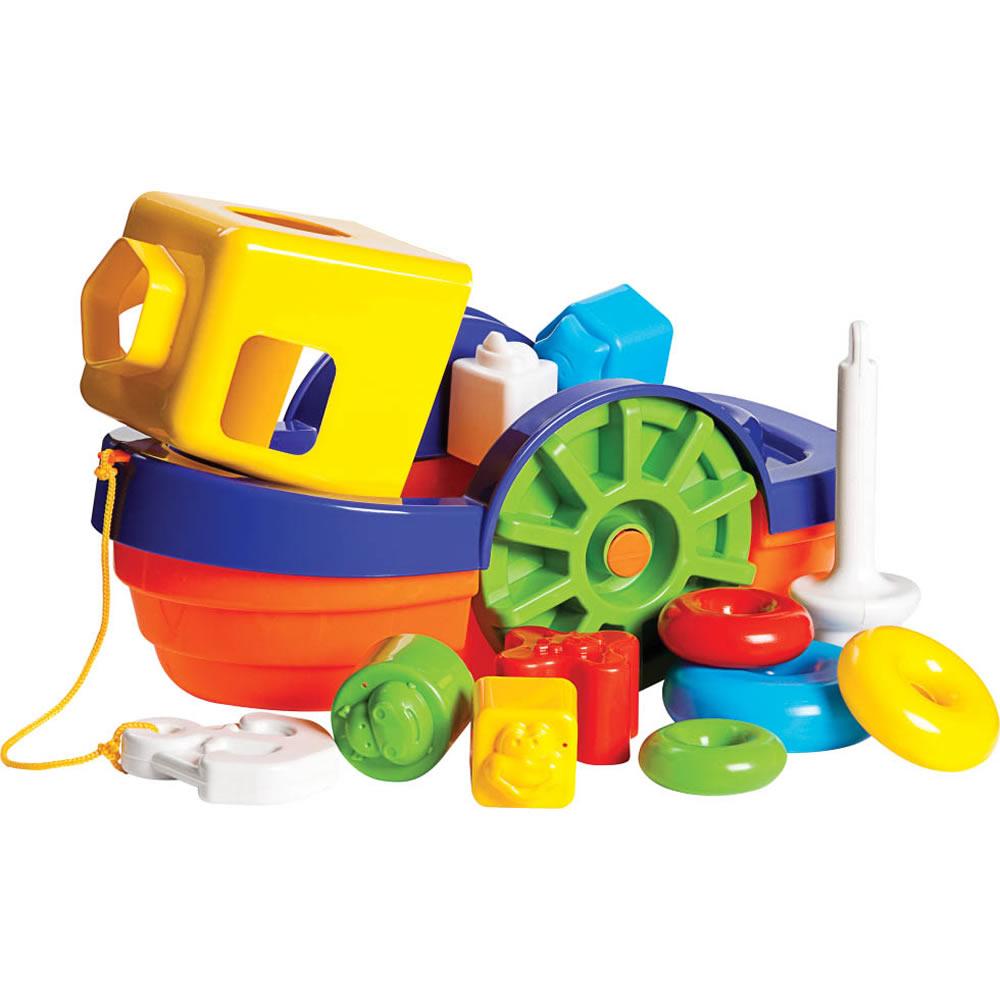 Barco Didático Colorido com Blocos de Encaixar Mercado Toys 292