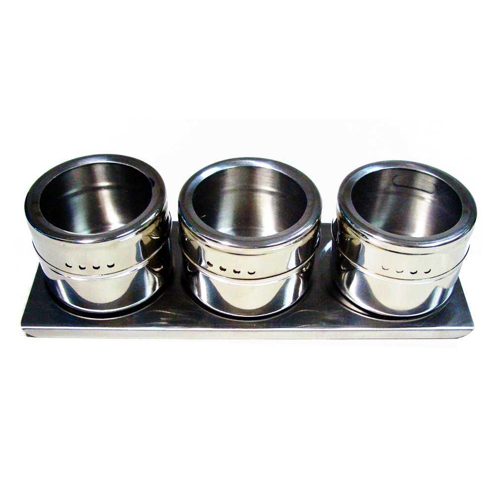 Porta Condimentos 3 Potes em Aço Inox com Imã na Base e Suporte Wellmix WX3878
