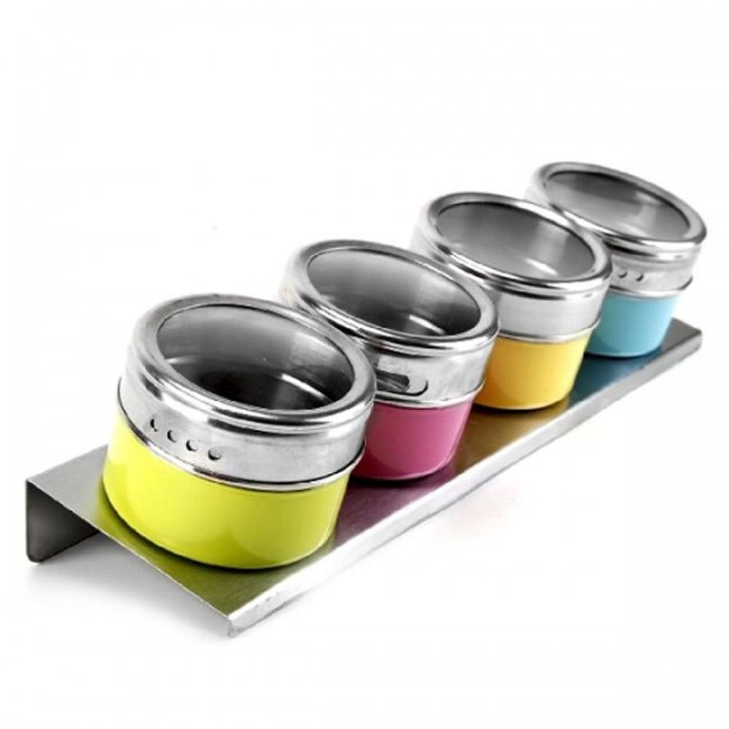 Porta Condimentos 4 Potes em Aço Inox com Imã na Base e Suporte Colorido Wellmix WX3880