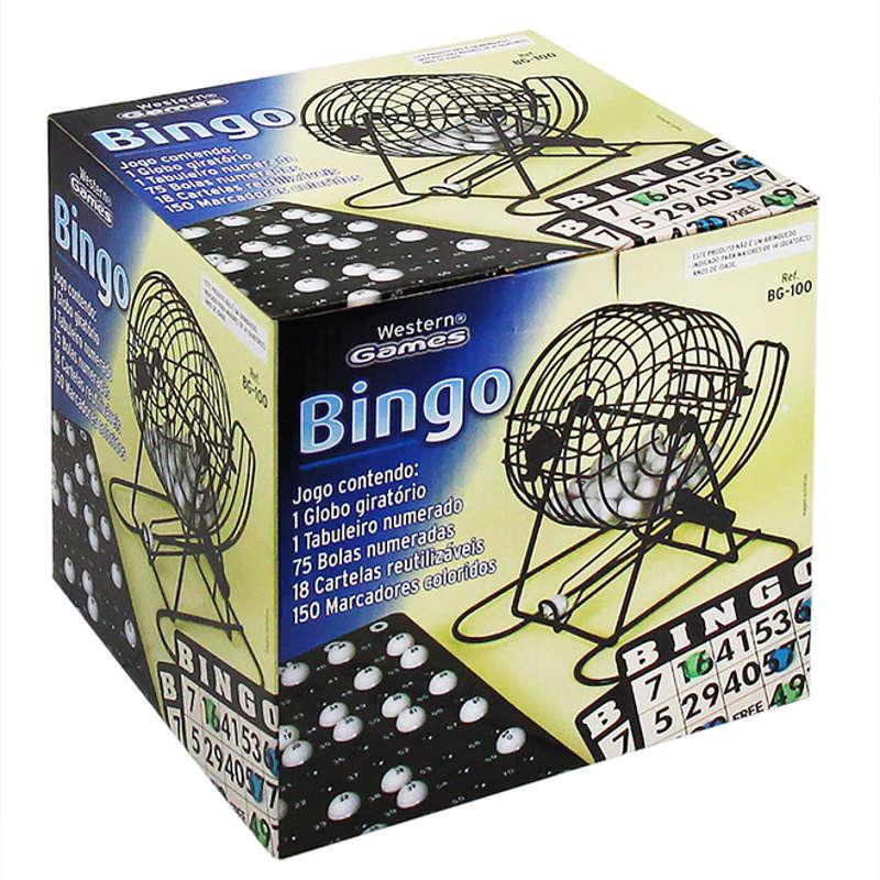 Jogo de Bingo com Globo Tabuleiro e Bolas Western BG-100