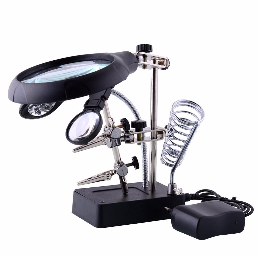 Lupa De Bancada Com Suporte para Ferro de Solda e Luz de LED com Fonte MG16129-C