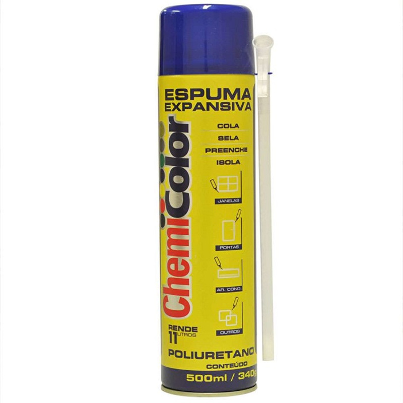 Kit 10 Espuma Expansiva de Poliuretano Spray 500ml Chemicolor