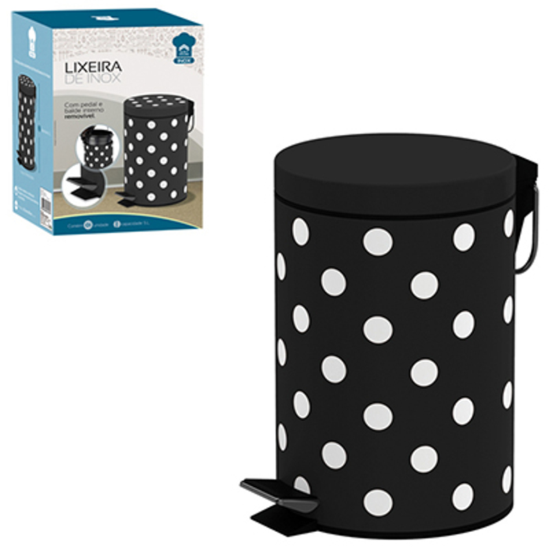 Lixeira Inox 5 Litros com Pedal Poa Preta Art House ZF1696