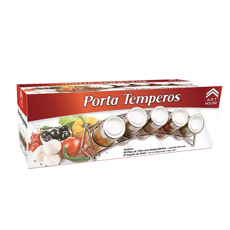 Porta Condimentos 5 Potes de Vidro Suporte Cromado Art House BS1486