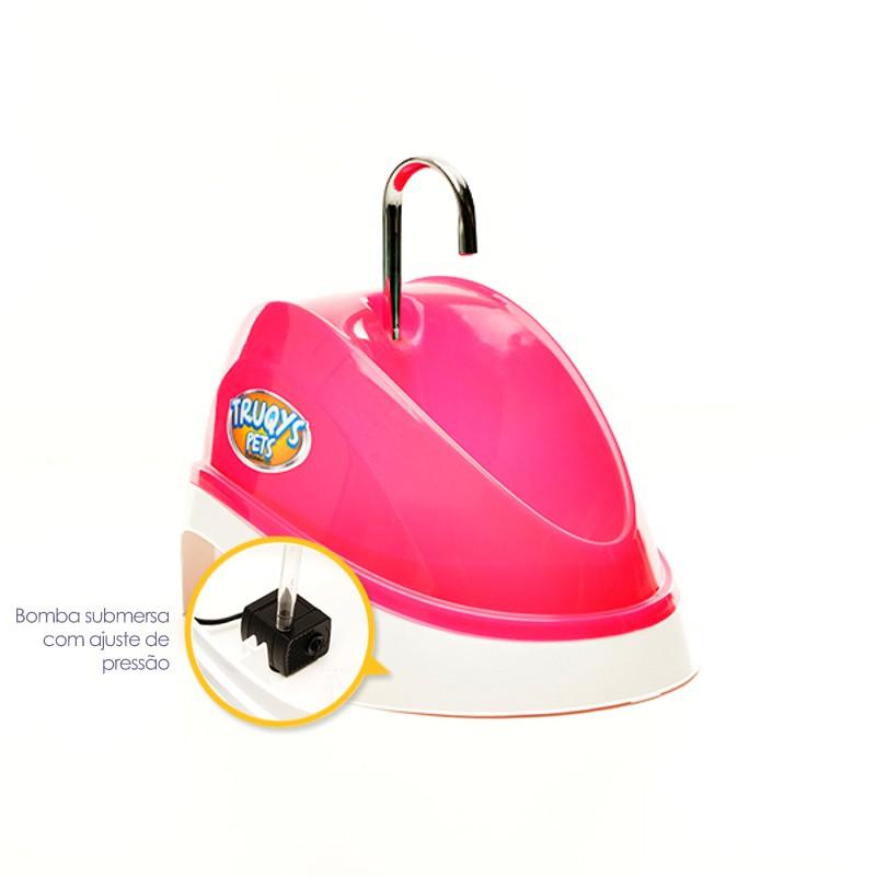 Fonte Bebedouro para Gatos Água Corrente Rosa 110V Truqys Pet 1800RS