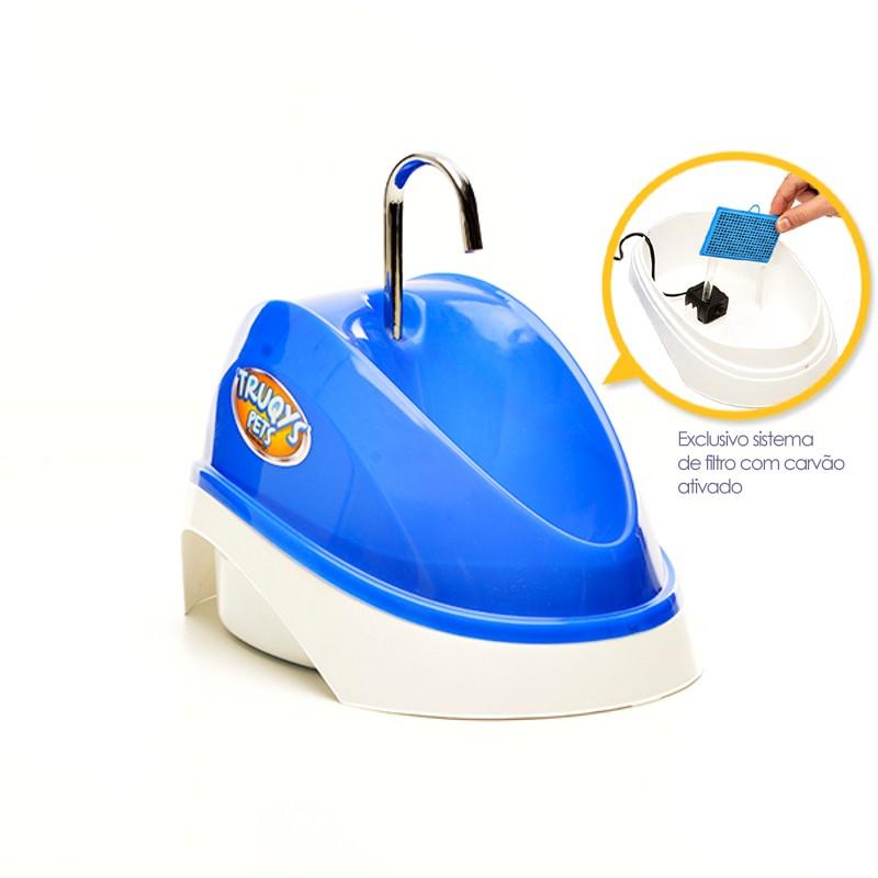Fonte Bebedouro para Gatos Água Corrente Azul 220V Truqys Pet 1800AZ