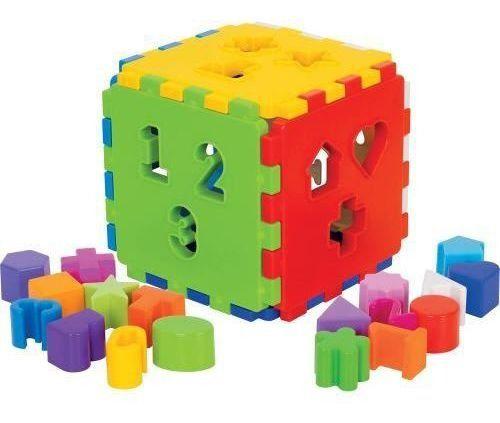 Kit 2 Brinquedos Didáticos Girafa + Cubo Blocos De Encaixar