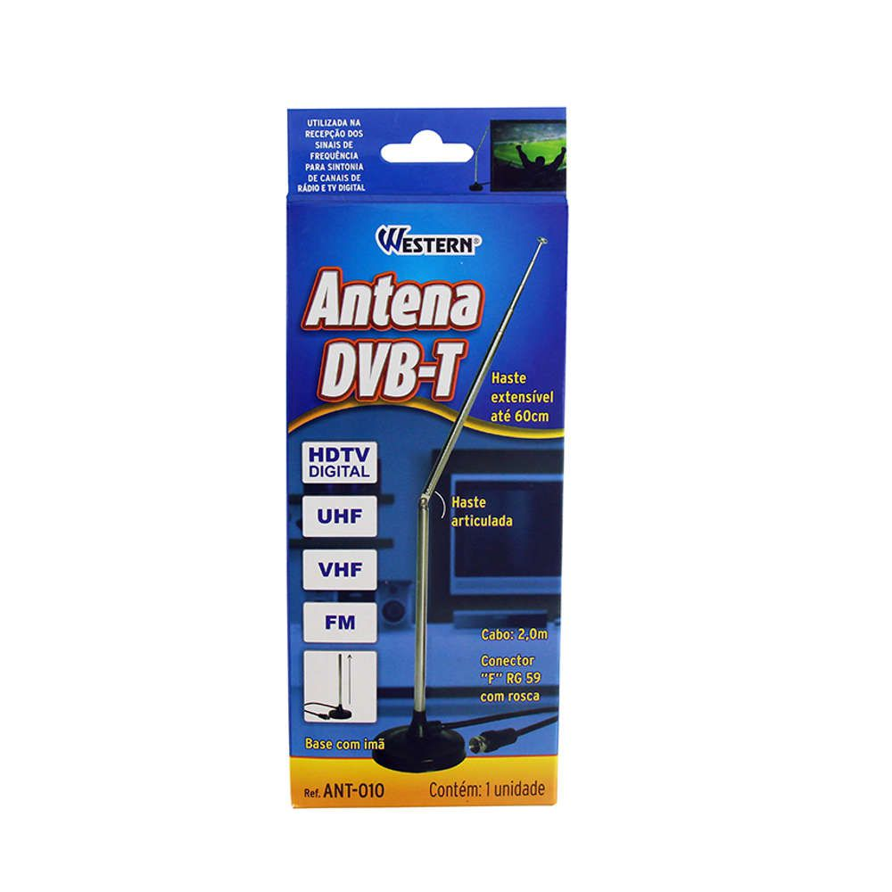 Antena DVB-T HDTV UHF VHF FM com Base Imã Western ANT-010