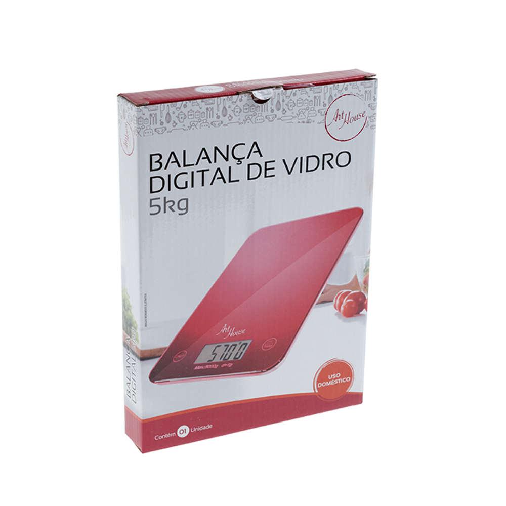 Balança para Cozinha Digital 5Kg em Vidro Retangular Art House ZP736