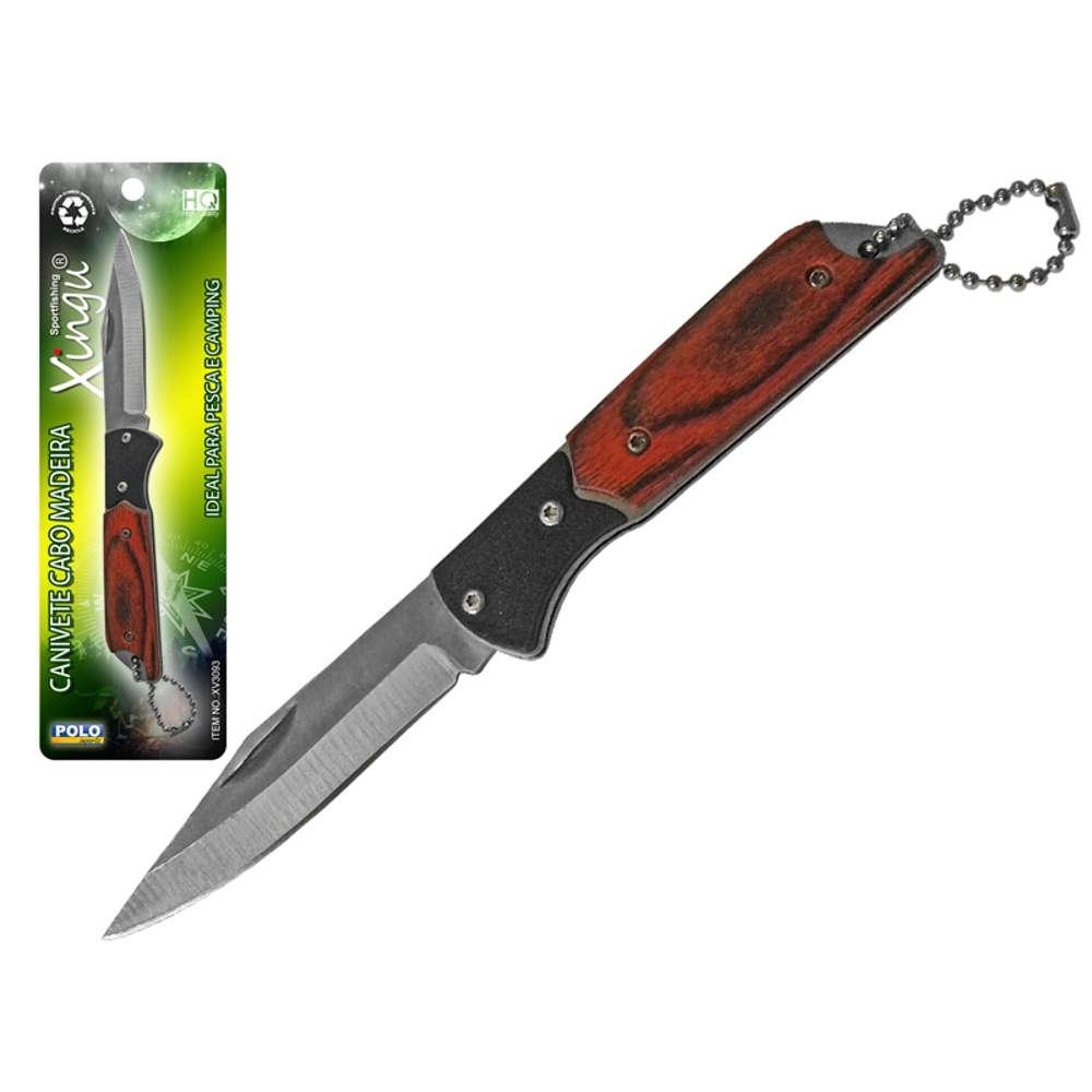 Canivete Caça e Pesca Aço Inox Cabo Madeira Xingu XV3093