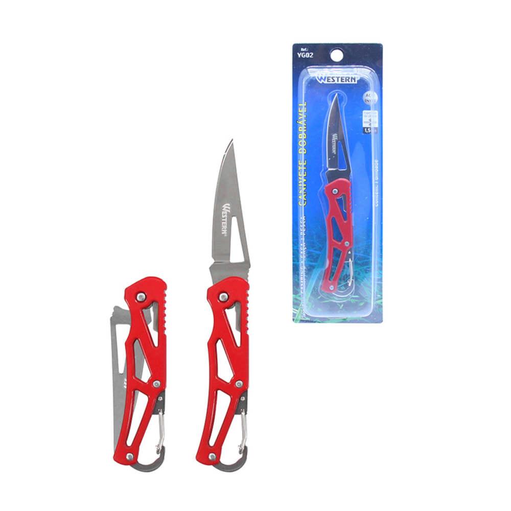 Canivete Dobrável Aço Inox com Clip Mosquetão para Camping Caça e Pesca Western YG02