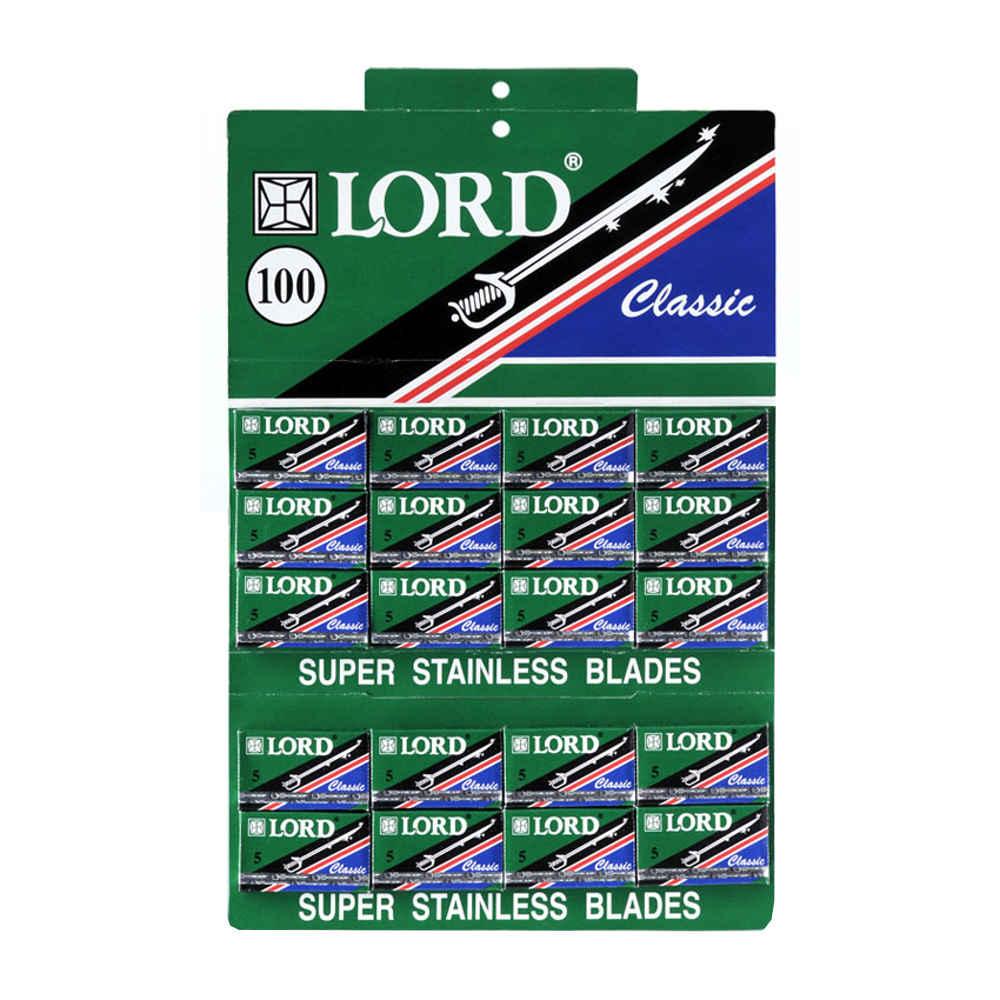 Cartela Lâmina de Barbear Inox Verde Classic com 100 Lord L.099
