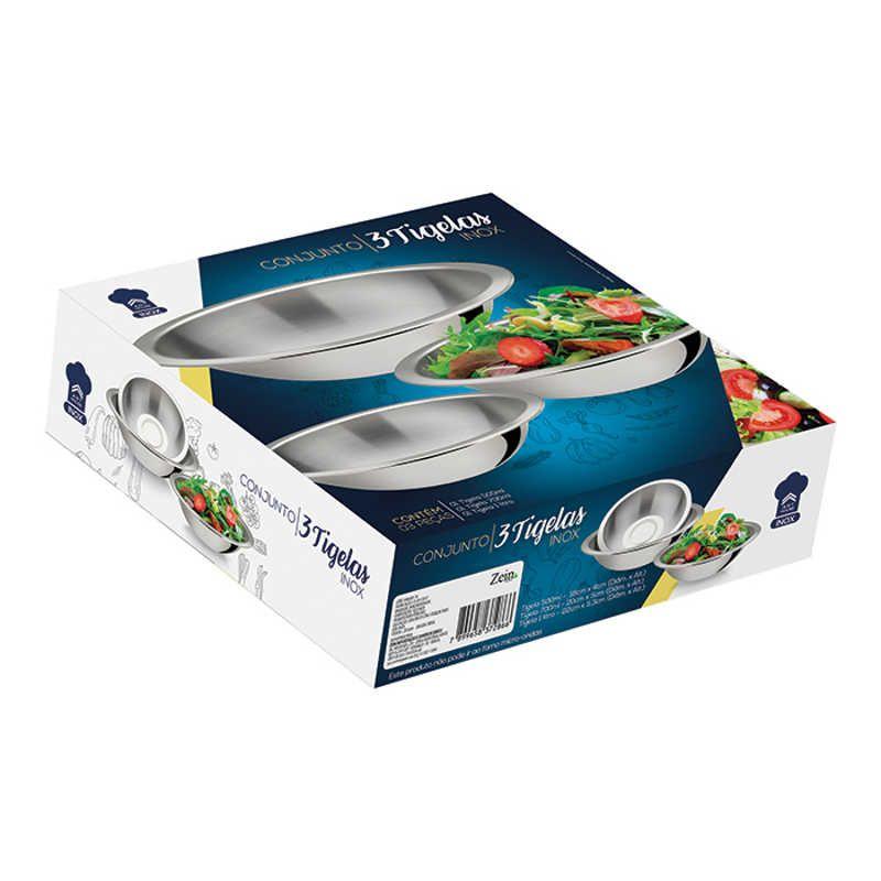 Conjunto 3 Bowls Tigelas em Inox Rasa Art House ZF2450