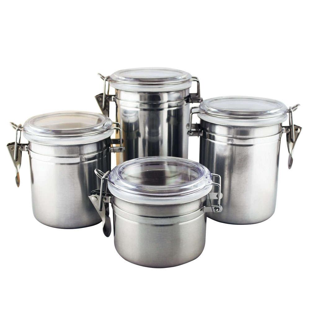 Conjunto 4 Potes para Mantimento Hermético Inox Clink CK4138