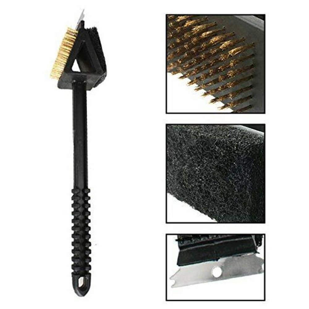 Escova Limpa Grelha de Churrasqueira de Aço com Espátula Raspador e Esponja Abrasiva HM9003