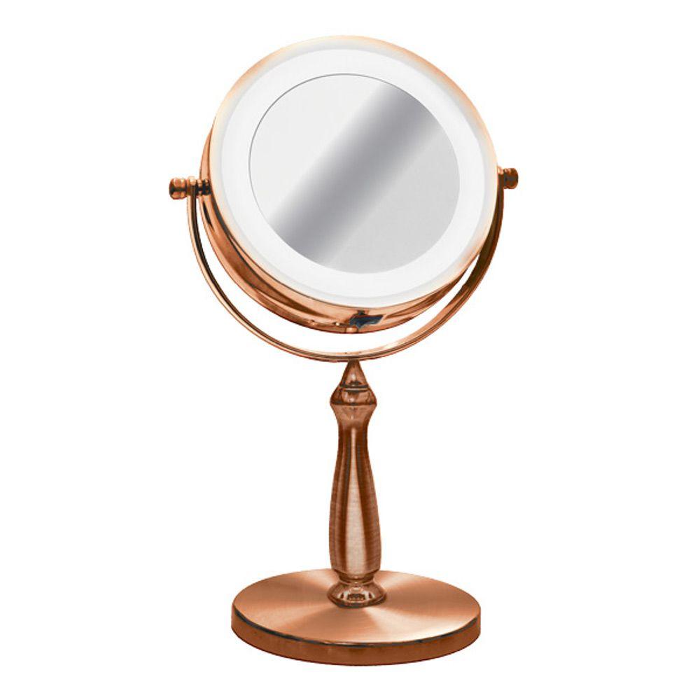 Espelho com Iluminação Luz de LED Duplo com Aumento 5x e Normal com Pedestal Bronze ES180201