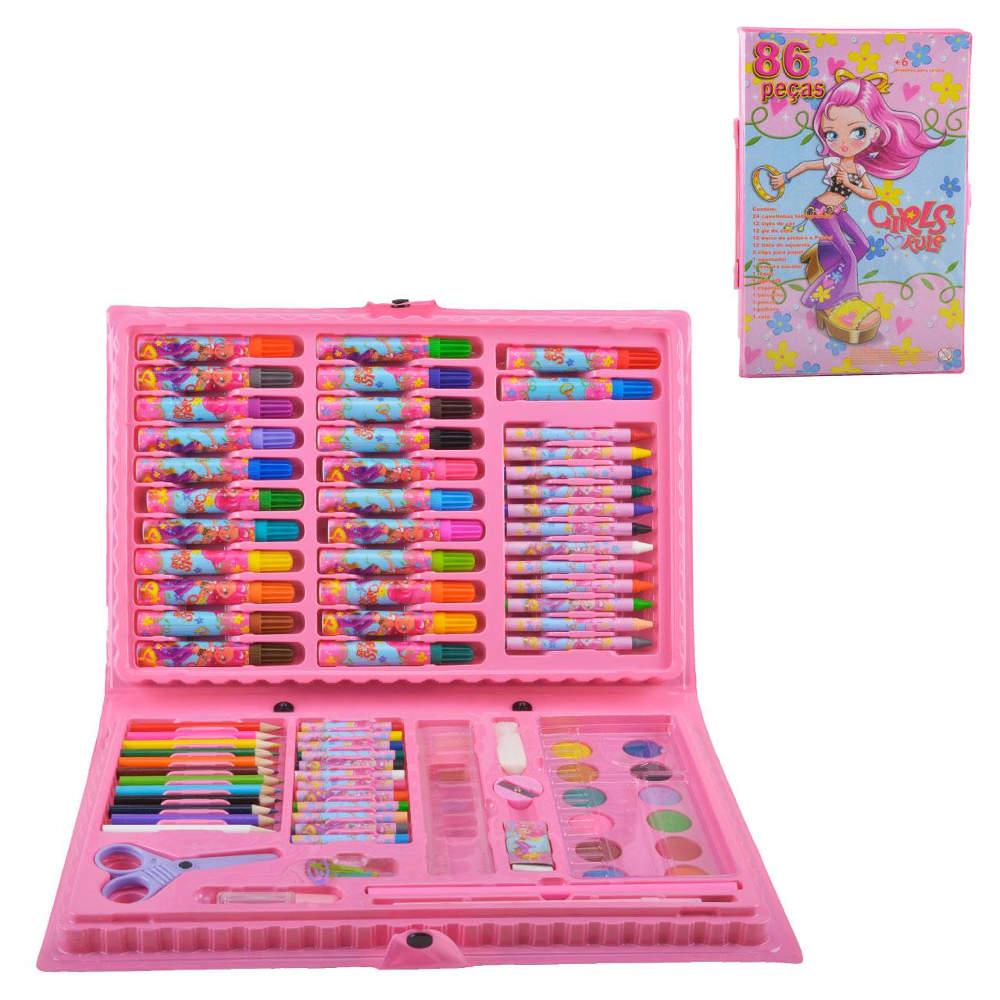 Estojo Escolar Infantil com Lápis Canetinha Giz de Cera Tintas 86 Peças Rosa