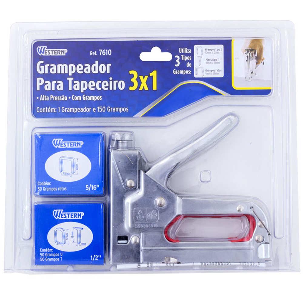 Grampeador de Tapeceiro 3x1 com 150 Grampos Western 7610