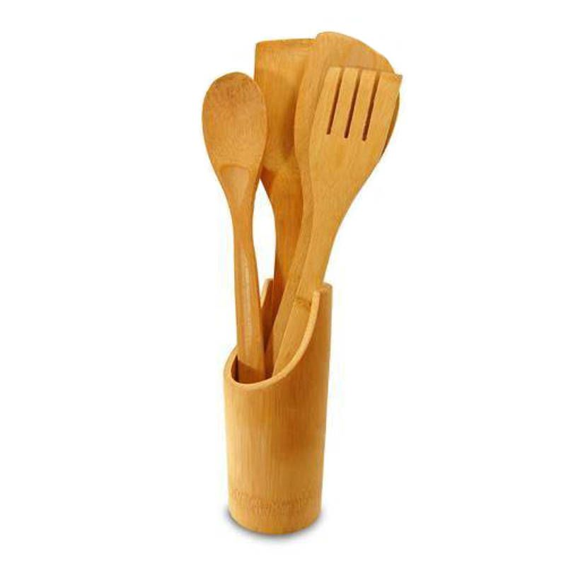 Jogo de Utensílios para Cozinha em Bambu Colheres COZB44
