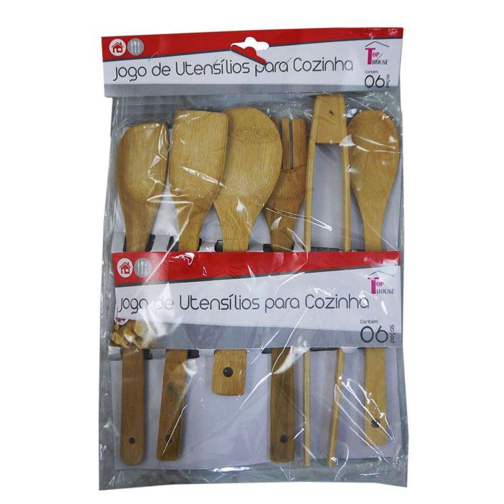 Jogo de Utensílios para Cozinha em Bambu Colheres e Pegador TRC7284