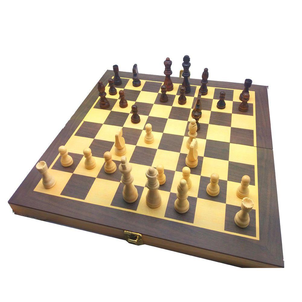 Jogo De Xadrez e Dama Em Madeira 35x35cm 2x1 Hoyle 28702