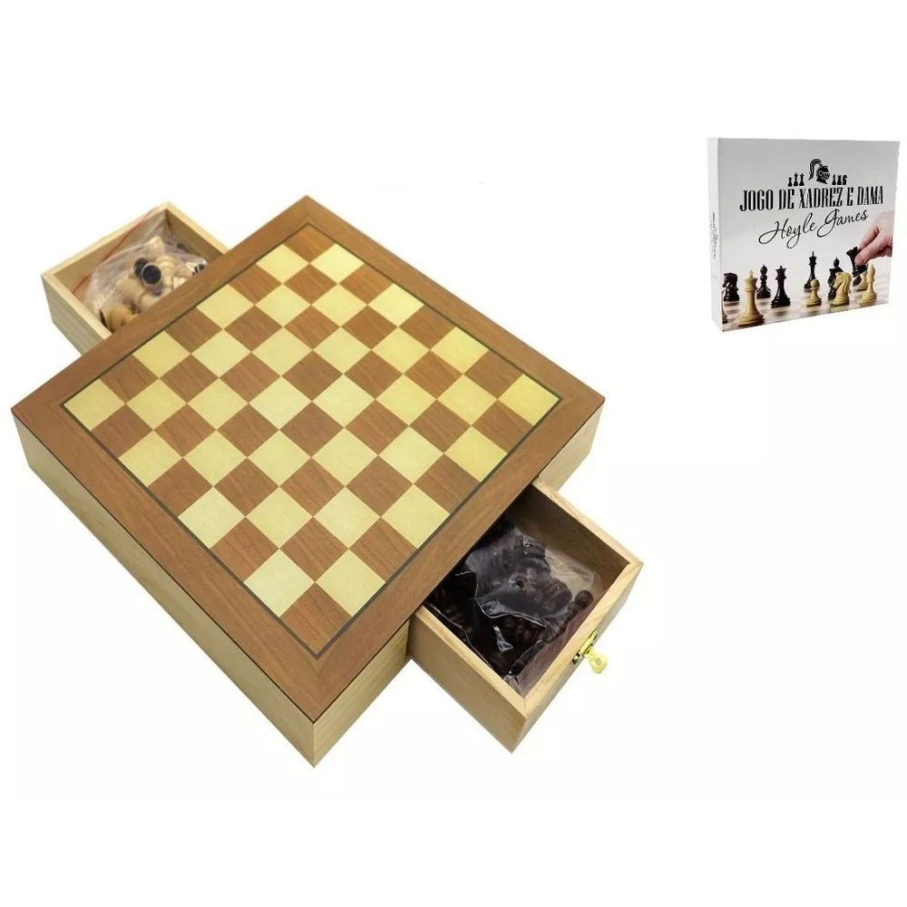 Jogo De Xadrez e Dama Tabuleiro Em Madeira 39x39cm 2x1 Hoyle 28809
