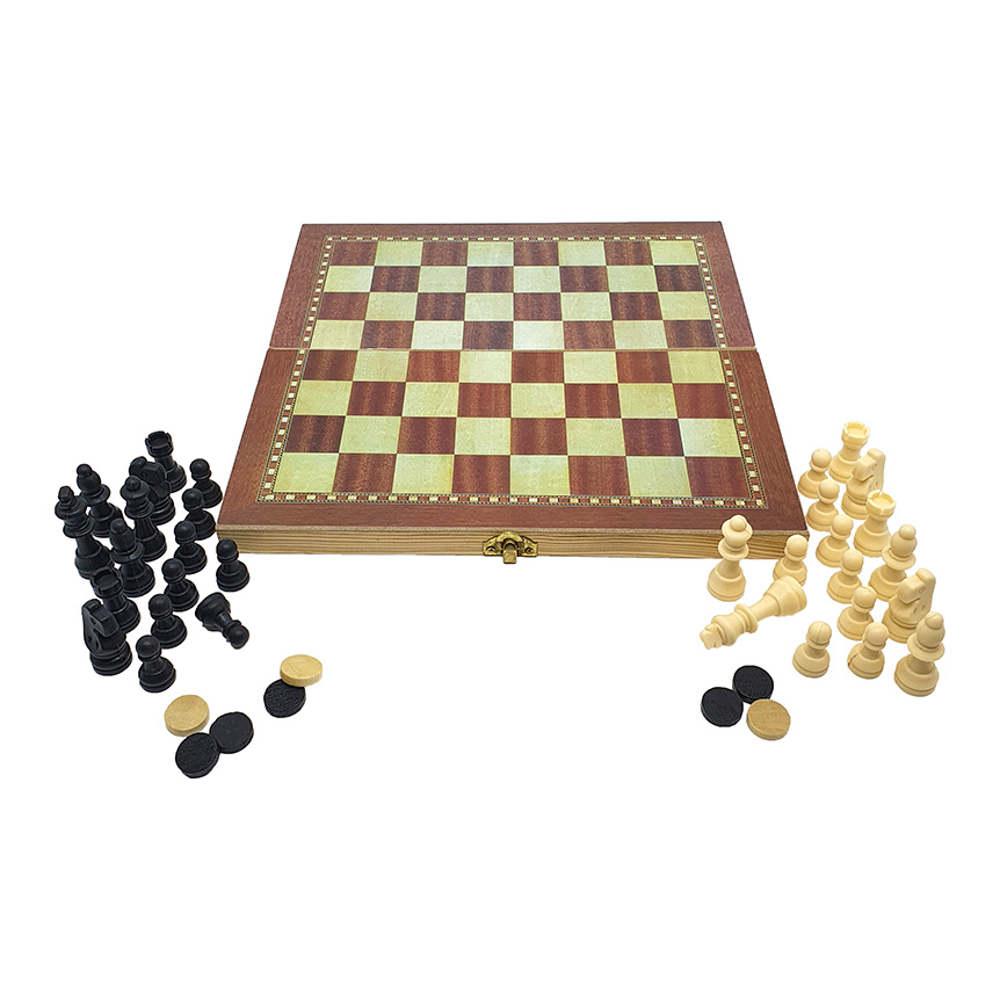 Jogo Xadrez Dama e Gamão Tabuleiro 3x1 29x29cm Western 3303