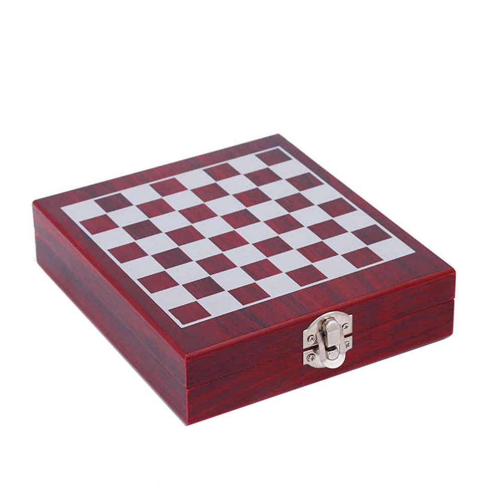 Jogo Xadrez Tabuleiro com Kit para Vinho 14x14cm 6603