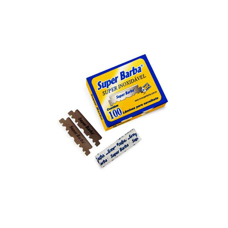 Kit 10 Caixas Lâmina para Navalhete de Barbear Inox Amarela com 100 Super Barba