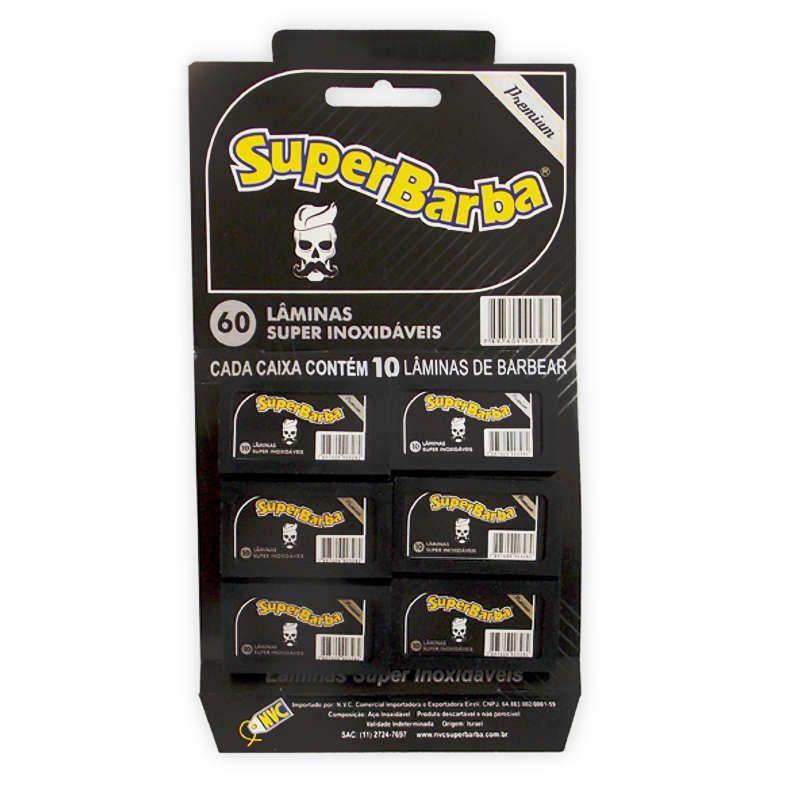 Kit 10 Cartelas Lâmina de Barbear Inox Premium Preta com 60 Super Barba