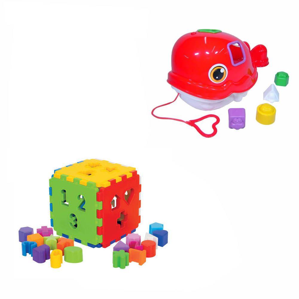 Kit 2 Brinquedos Didáticos Baleia + Cubo Blocos De Encaixar
