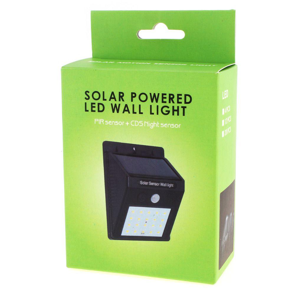 Kit 2 Luminária Led Recarregável Solar 20 Leds de Parede com Sensor De Presença