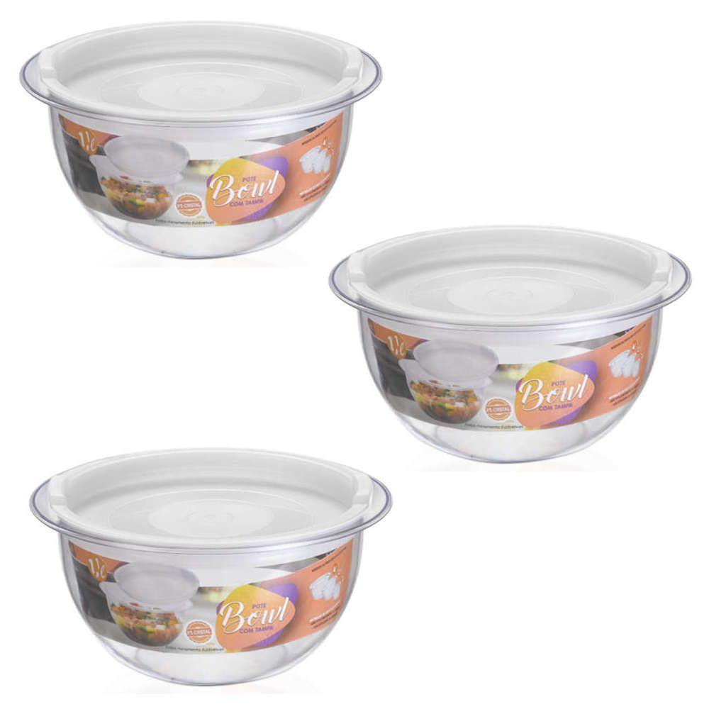 Kit 3 Bowl em Acrílico Transparente 1,1L Redondo com Tampa Injeplastec 0214
