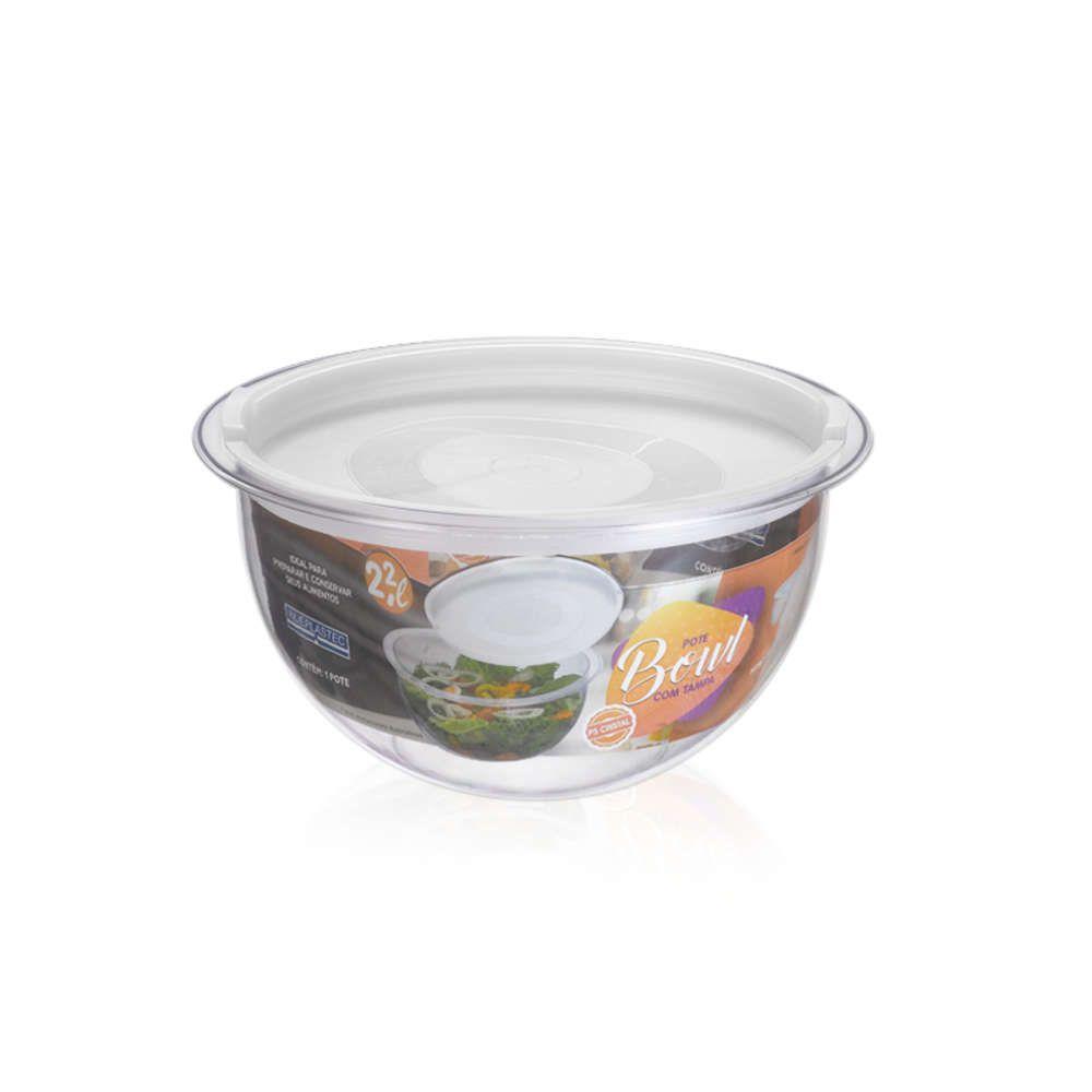 Kit 3 Bowl em Acrílico Transparente 2,2L Redondo com Tampa Injeplastec 0216