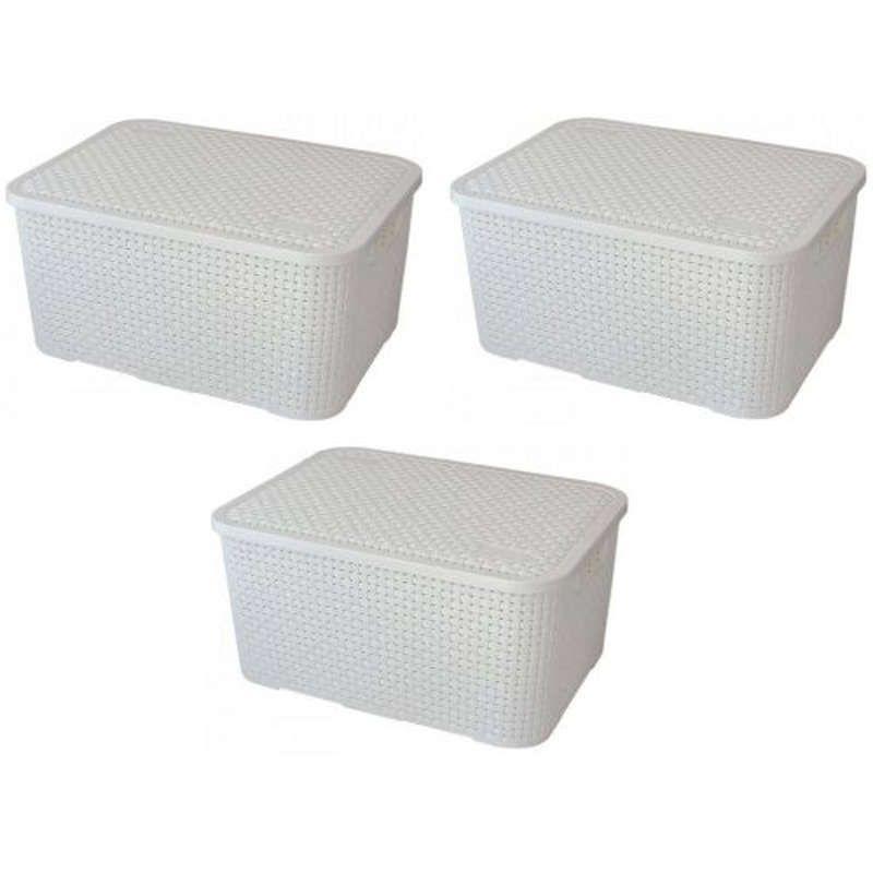 Kit 3 Caixas Organizadoras Plásticas Cesto Rattan Branca Nitron 069