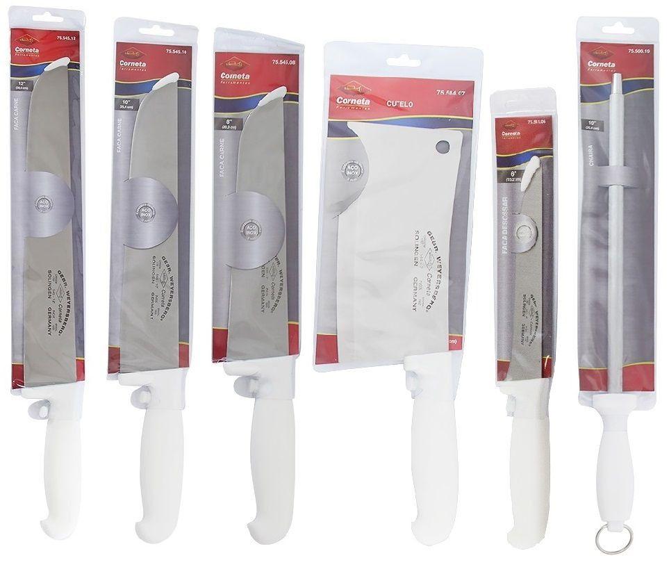 """Kit 3 Facas Açougueiro Profissional em Aço Inox 8"""" 10"""" e 12"""" Desossa Cutelo e Chaira 10 Corneta"""