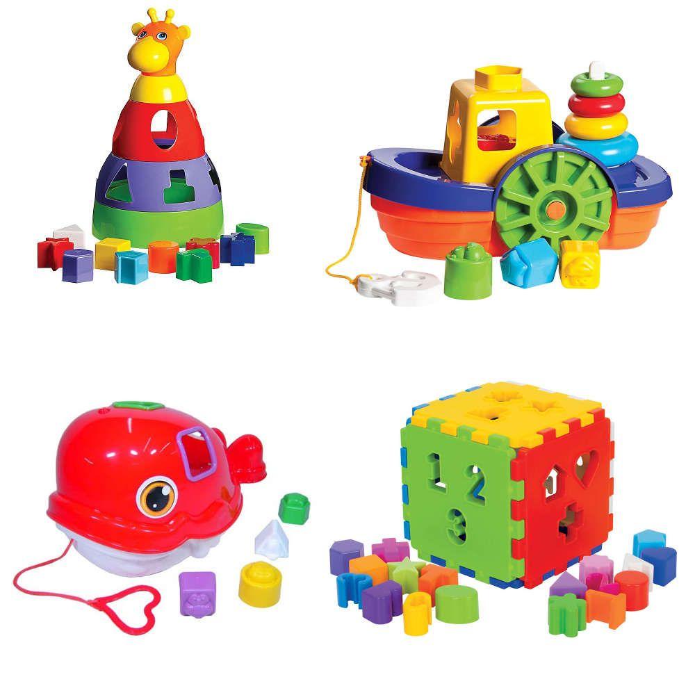 Kit 4 Brinquedos Didáticos Girafa Baleia Cubo e Barco com Blocos de Encaixe Mercado Toys