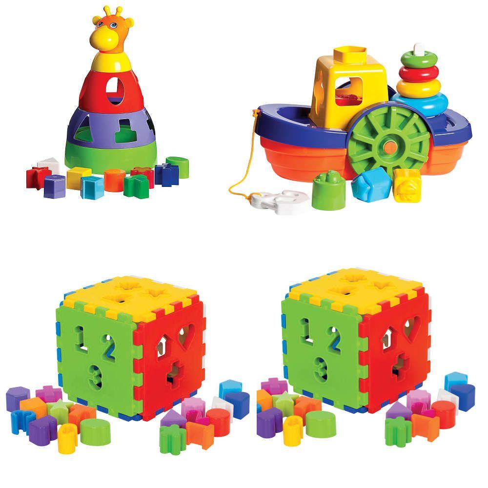 Kit 4 Brinquedos Educativos 1 Girafa + 2 Cubos + 1 Barco