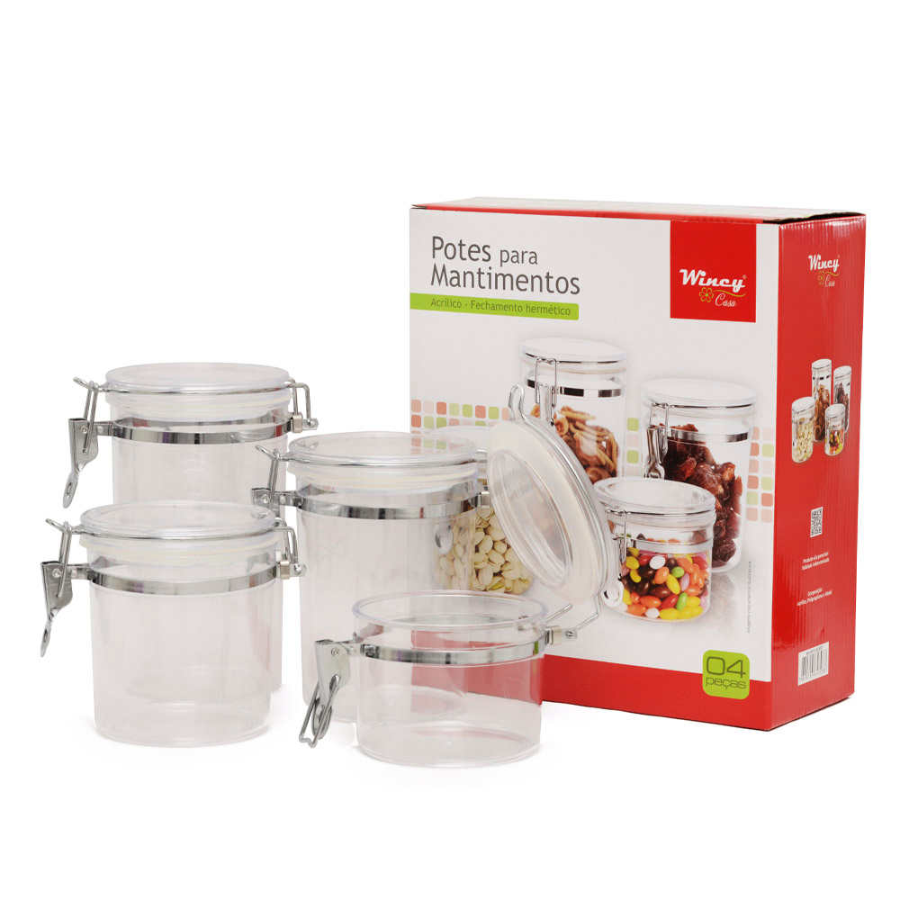 Kit 4 Potes para Mantimentos Acrílico Hermético Transparente Redondo Wincy CLA15017
