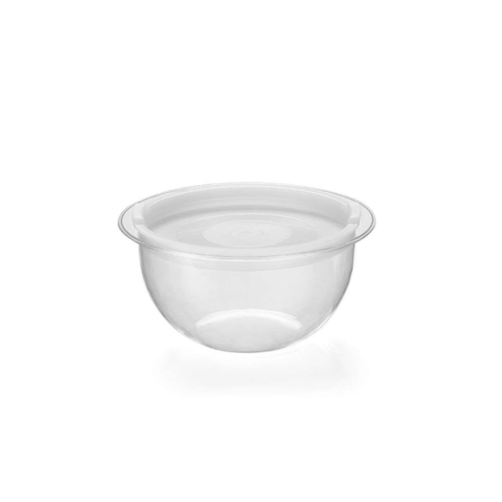 Kit 6 Bowl em Acrílico Transparente 1,1L Redondo com Tampa Injeplastec 0214