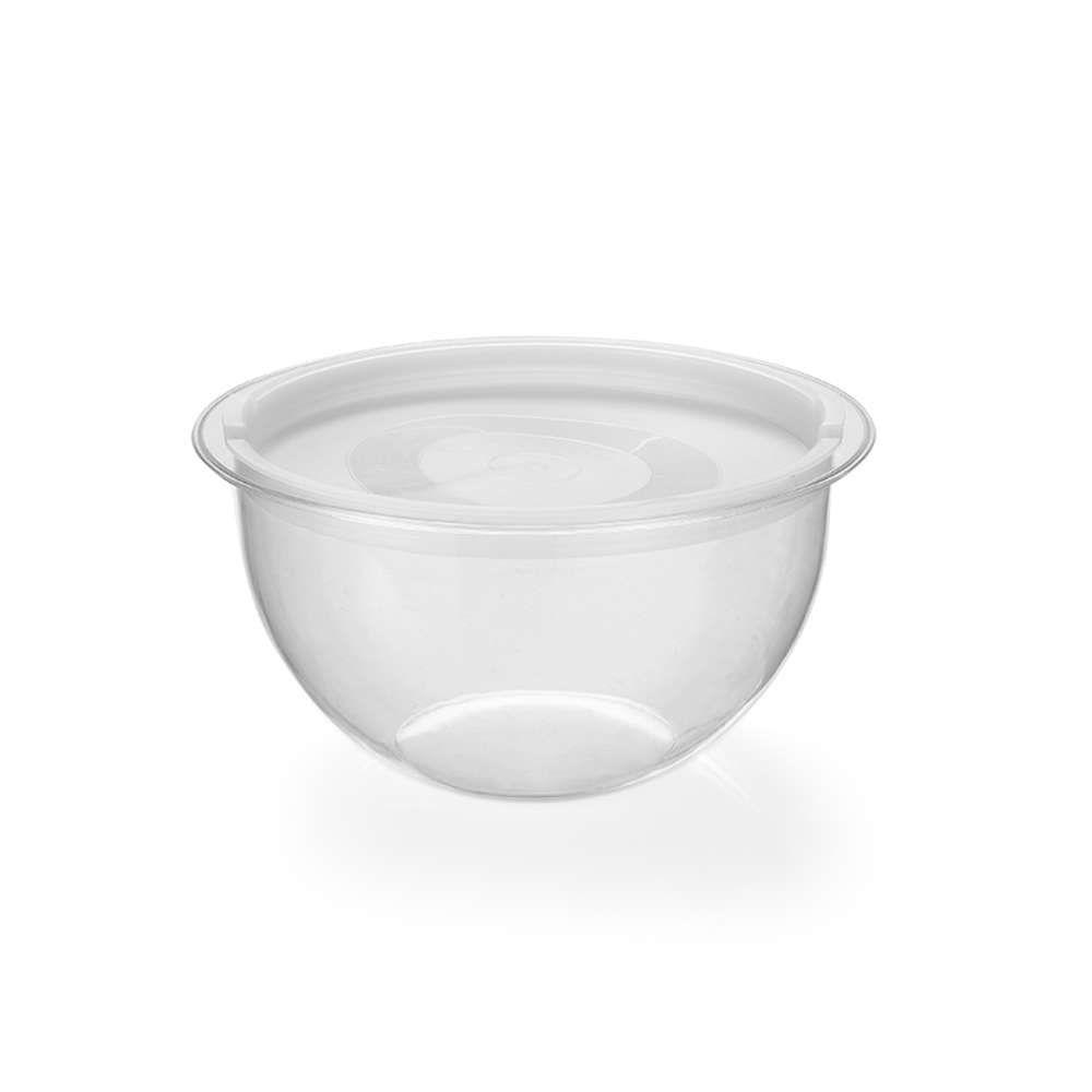 Kit 6 Bowl em Acrílico Transparente 2,2L Redondo com Tampa Injeplastec 0216