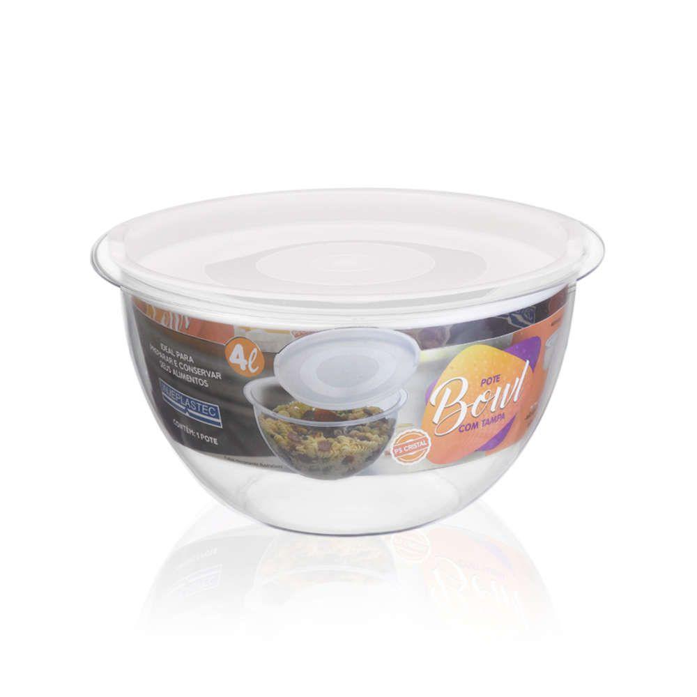 Kit 6 Bowl em Acrílico Transparente 4L Redondo com Tampa Injeplastec 0218