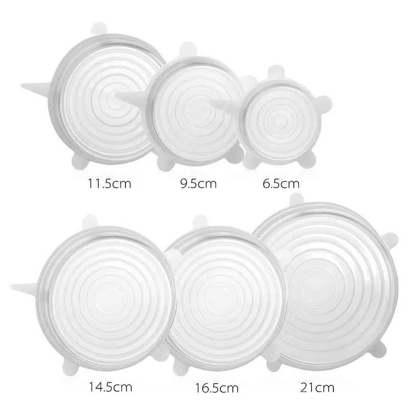 Kit 6 Tampas de Silicone Universal Reutilizável Lavável AG9081