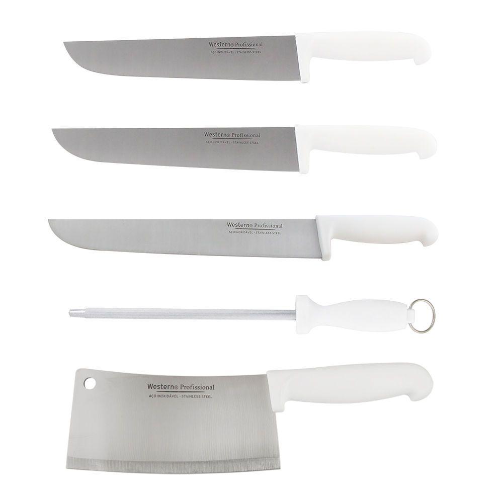 Kit Faca para Carne Inox Açougueiro 8 10 e 12 Cutelo 7 Chaira 10 Profissional Cabo Branco Western