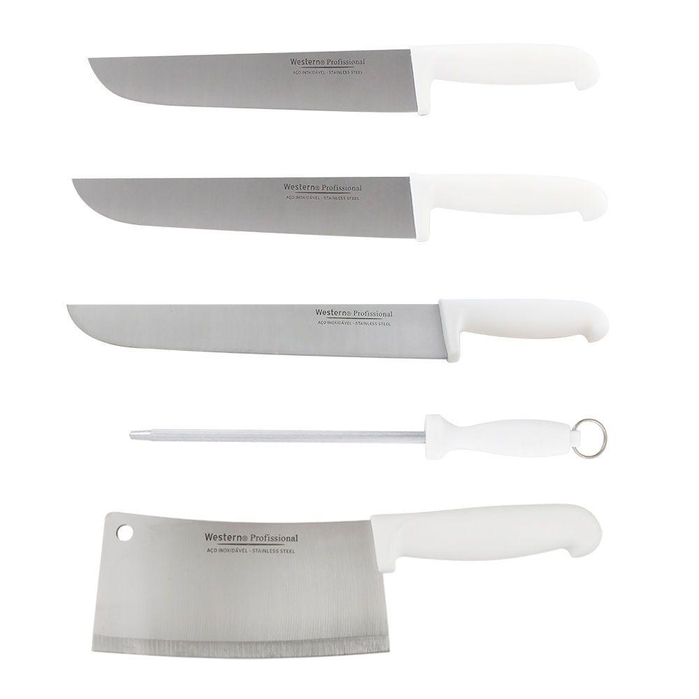 Kit Faca para Carne Inox Açougueiro 8 10 e 12 Cutelo 7 Chaira 8 Profissional Cabo Branco Western