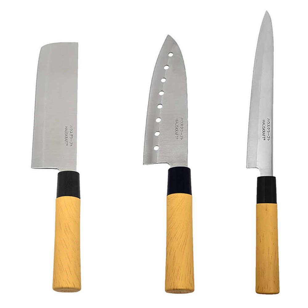Kit Faca Sushi Sashimi Santoku com Furo 7 Peixe 8 e Cutelo 7 Tipo Japonesa KITHAUFACJAP008