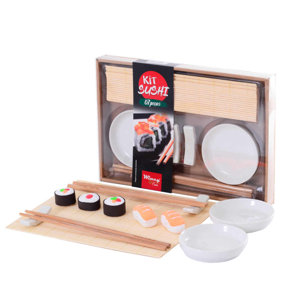 Kit Sushi 7 Peças com Hashi Molheira Suporte e Enrolador de Sushi Wincy CED05012